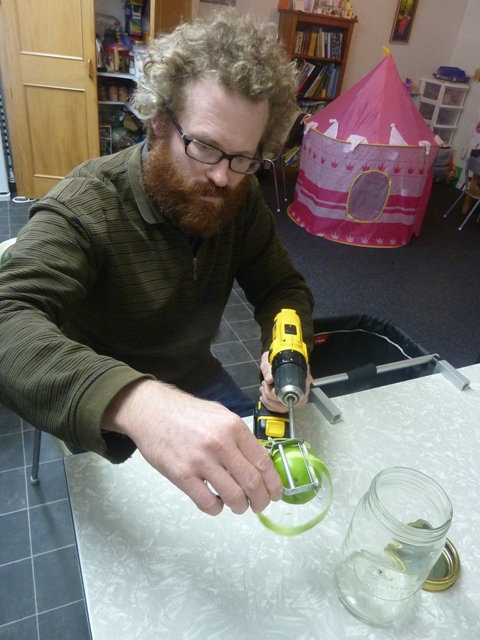 Crazy scientist Lynton Baird utilising drill for apple peeling!